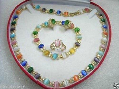 Jolie multicolore opale collier Bracelet bague de boucles d'oreilles ^^^@^ 18 K GP style beaux jewe Noble naturelle de jade livraison gratuite