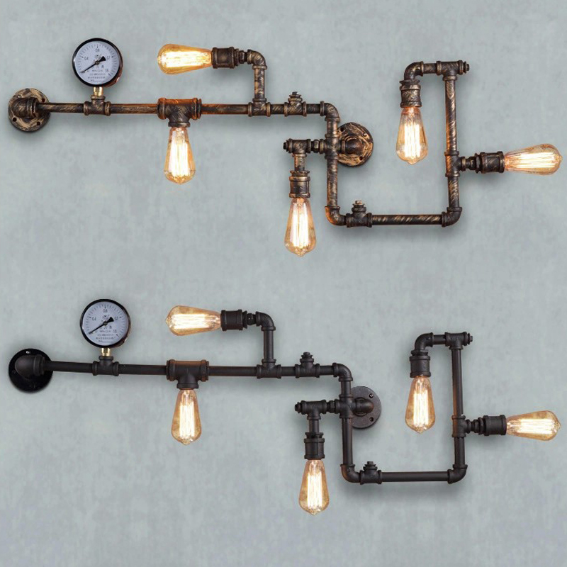 Loft Industrial Wall Lamps Antique Edison Wall lights with Bulbs E27 110V-220V Vintage Pipe Wall Lamp for Living Room Lighting wholesale price loft vintage industrial edison wall lamps clear glass lampshade antique copper wall lights 110v 220v for bedroom href