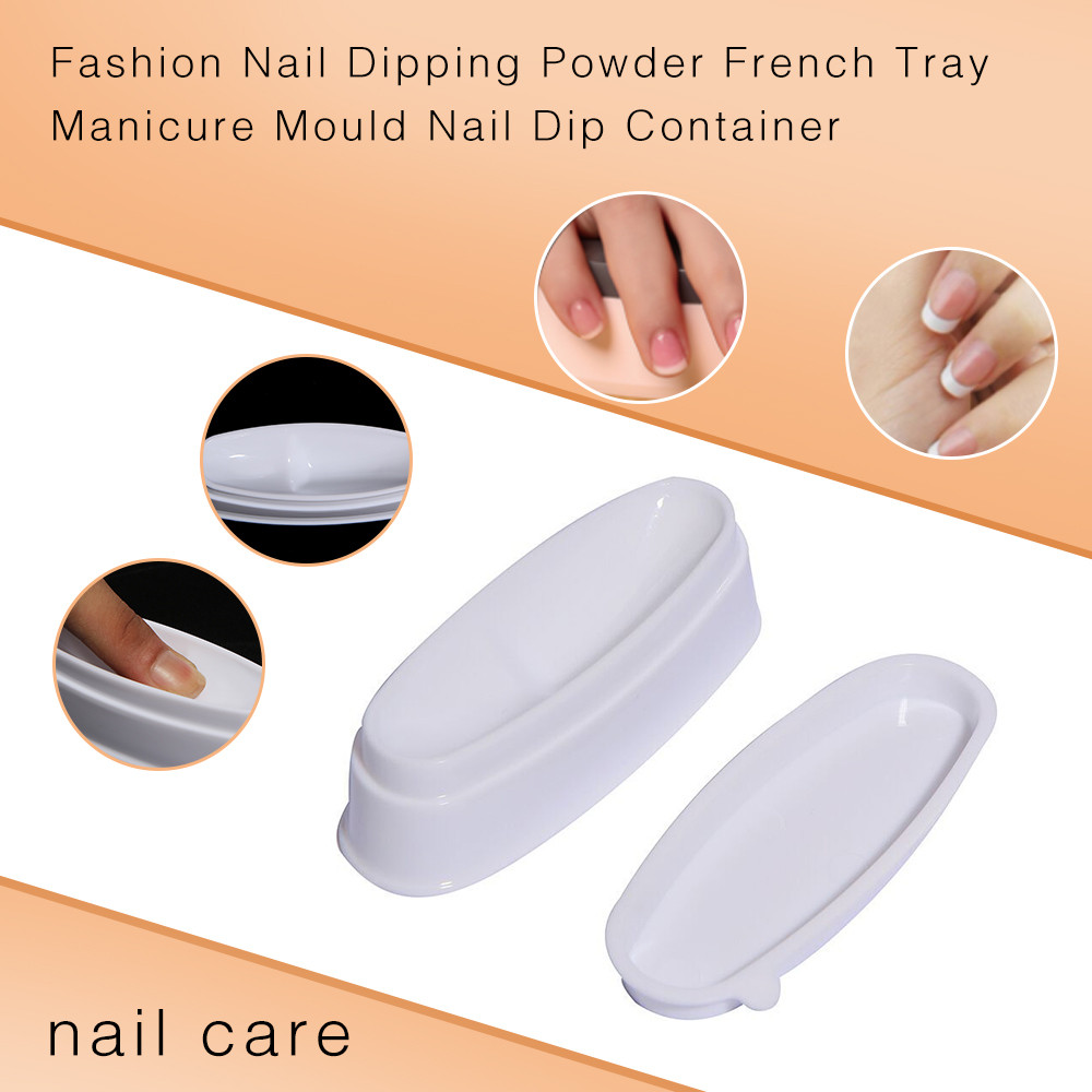 Fashion Nail Dipping Powder Tray Manicure Mold Nail Dip Container Nail Tools Nail Accessory French Powder Box 2019 Jan09