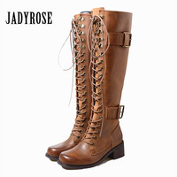 Jady Rose Punk Style Women Lace Up Riding Boots Chunky High Heel Knee High Boots Buckle Female Platform Rubber Shoes Woman