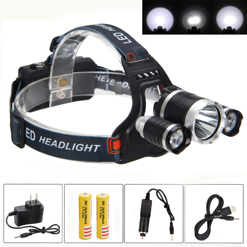 Bright 8000LM 3X XM T6 USB Rechargeable LED Gun Light  2x18650 Headlamp Camping Light + AC/Car Charger