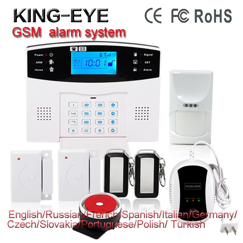 Wireless GSM SMS Russian/French/Spanish voice autodial intelegent anti-theft home alarm system kit sms control with LCD display russian french spanish polish voice prompt gsm alarm system for home security anti theft pir detector wireless siren app control