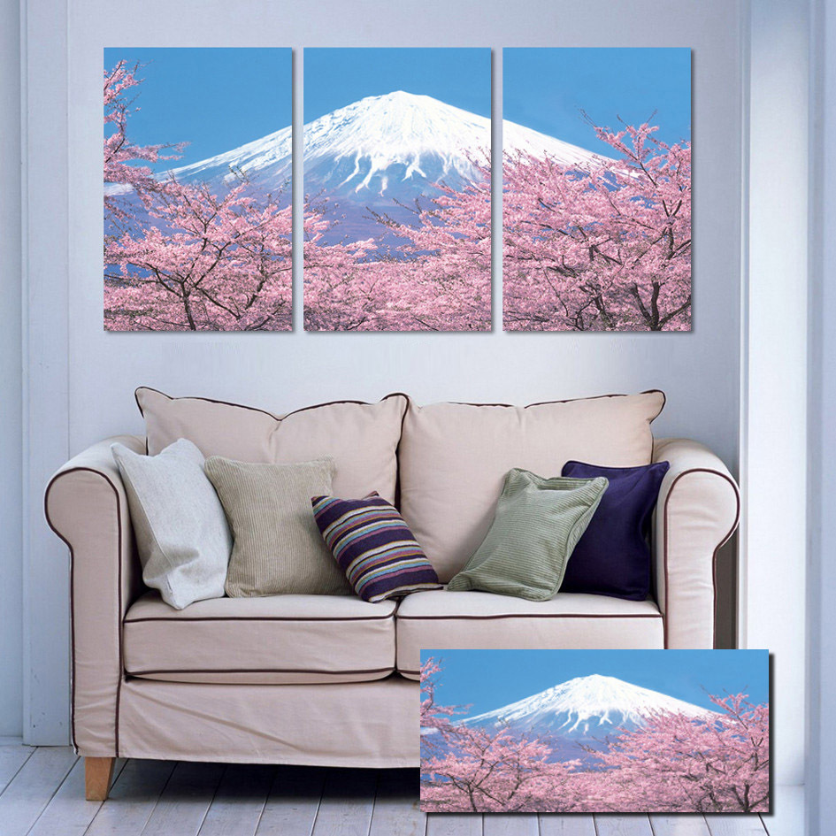 Japanese Fujisan moutain Landscape Cherry Blossoms Printed Canvas Oil Paintings Wall Hanging Picture Home Decor on Sale