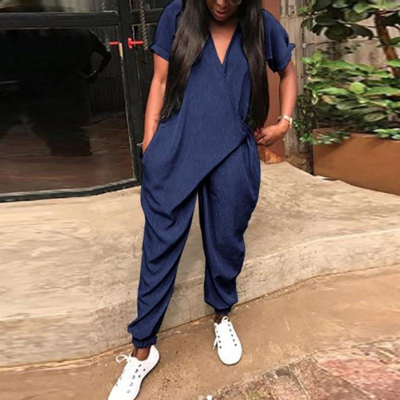 2018 Fashion Long Rompers Women Short Sleeve V Neck   Jumpsuit   Pockets Playsuit Overalls Casual Mono Bodysuit Streetwear Plus Size