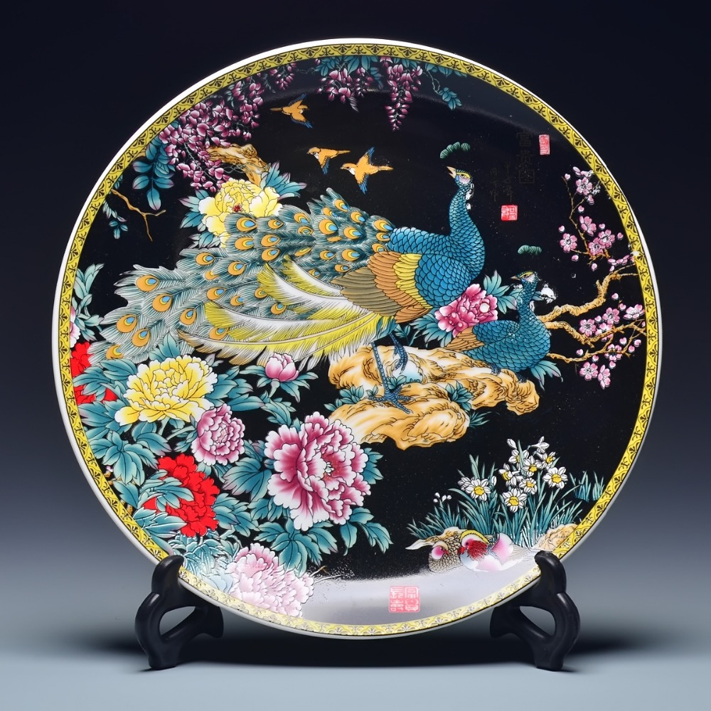 archaize Fine Rare Qing Dynasty (qianlong) Color Porcelain Phoenix Plate FREE SHIPPING 025-in