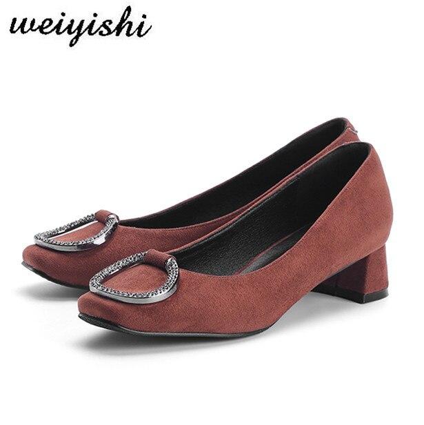 Sheepkin Chaussures De Haute Bureau Pointu 3 Pompes 2018 Troupeau Cm Bout Carré Talon Dame Weiyishi Moyen Femmes TfvqAxXwF