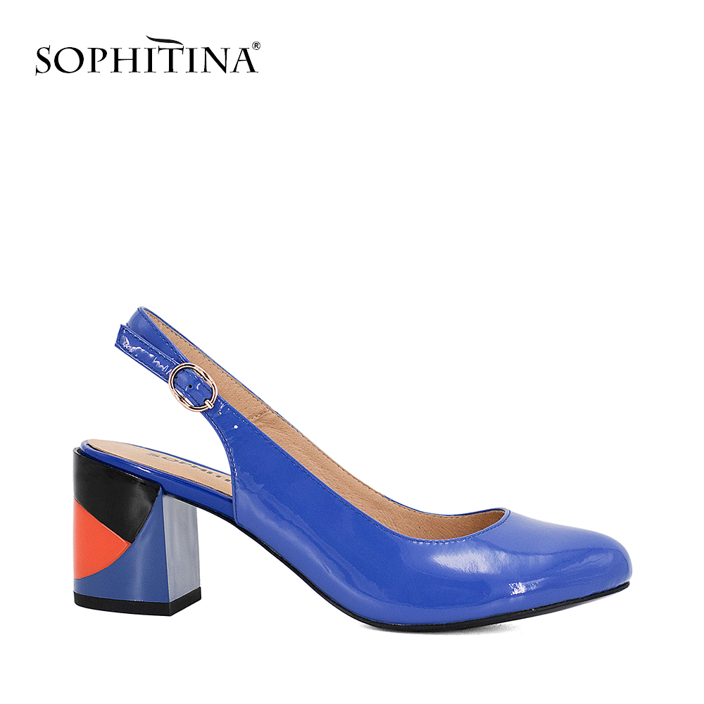 SOPHITINA Shoes Round Toe Square Heel Patent Leather Sexy Lady Pumps 2018 Sandals Buckle Strap Classics