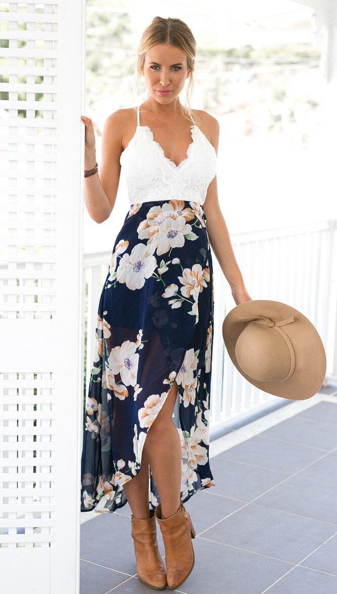 3a37b86964 Sexy druku koronki letnia sukienka głębokie v neck Strap wysokiej talii sukienki  plażowe kobiety backless długa sukienka YXNH120