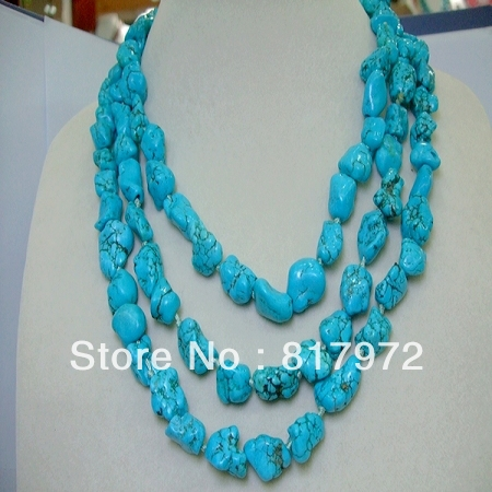 Glamour Blue Stone Stone Handmade Necklace Woman Party Gift Length 120cm Simple Style