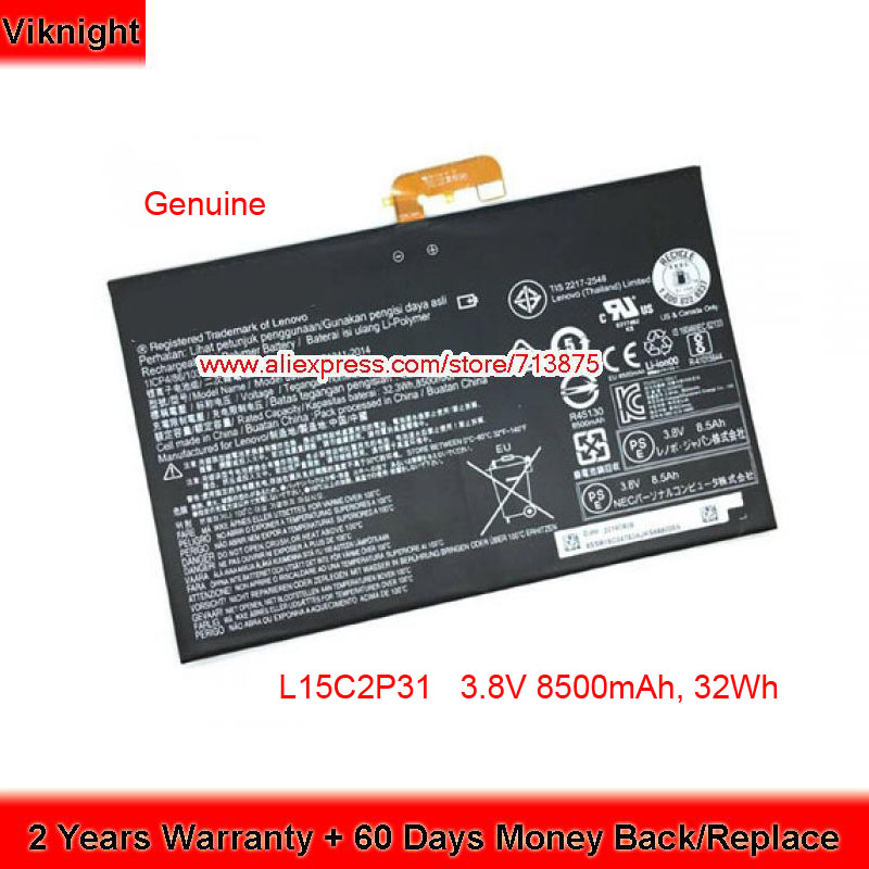 Genuine 3.8V 8500mAh L15C2P31 Battery For Lenovo YOGA BOOK YB1-X91F SB18C04740 1ICP4/86/103-2Genuine 3.8V 8500mAh L15C2P31 Battery For Lenovo YOGA BOOK YB1-X91F SB18C04740 1ICP4/86/103-2