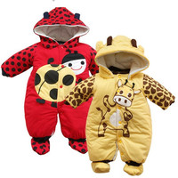 2016 New Jumpsuit Hat Shoes Animal Style Cartoon Warm Hooded Baby Rompers Winter Boys Girls Clothes