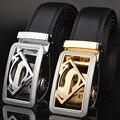 Cinturón Cinturones de Diseño de Los Hombres de Plata de Alta Calidad Superman Hebilla Automática Cinturón Negro De Cuero Real Hombres Ceinture Ceintures KA009