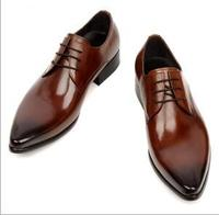 2016New Handmade Men Dress Shoes Man Genuine Leather Shoes Spring Lace Up Business Flats Shoes Black