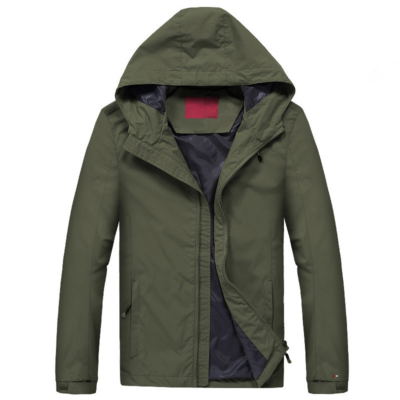 Men Waterproof Jacket Youth Casual Hooded Jacket high quality Loose Coat Spring Autumn ArmyGreen Men s