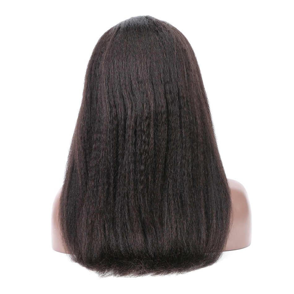 ILARIA Грубые Яки Glueless синтетические волосы на кружеве натуральные волосы Искусственные парики для черный для женщин странный прямые волосы Full 360