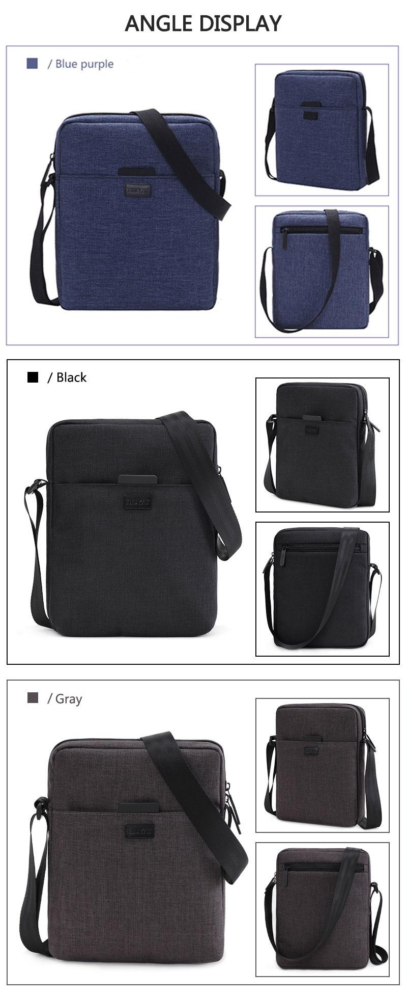 TINYAT Light Canvas Men's Shoulder Bag For 7.9' Ipad Casual Crossbody Bag Waterproof Business Shoulder bag for men 0.13kg 10
