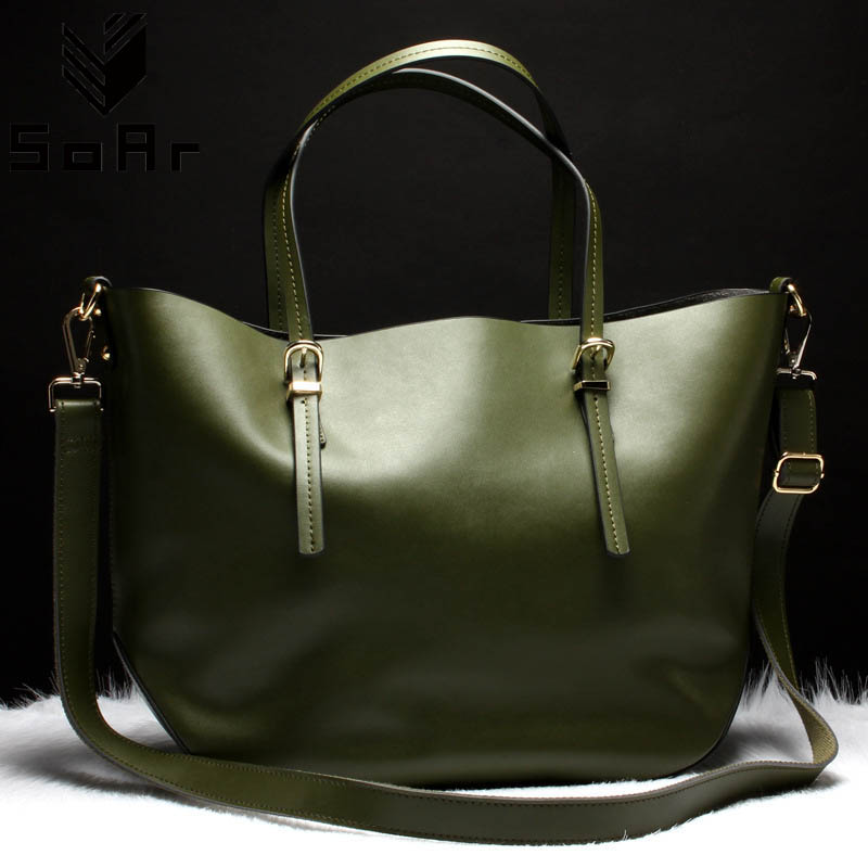 SoAr 100% Genuine Leather Bags Female Famous Brand Designer Handbags High Quality Big Size Tote cowhide Shoulder Messenger Bags soar cowhide genuine leather bag designer handbags high quality women shoulder bags famous brands big size tote casual luxury