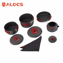 7set Portable Ultralight Aluminum Outdoor Camping Hiking Cookware Cooking Picnic Pan Pot Teapot Dishcloth 4 People NewBest Price new non stick aluminum camping cookware alocs ultralight outdoor cooking picnic set camp pot pan kettle dishcloth for 2 3 people