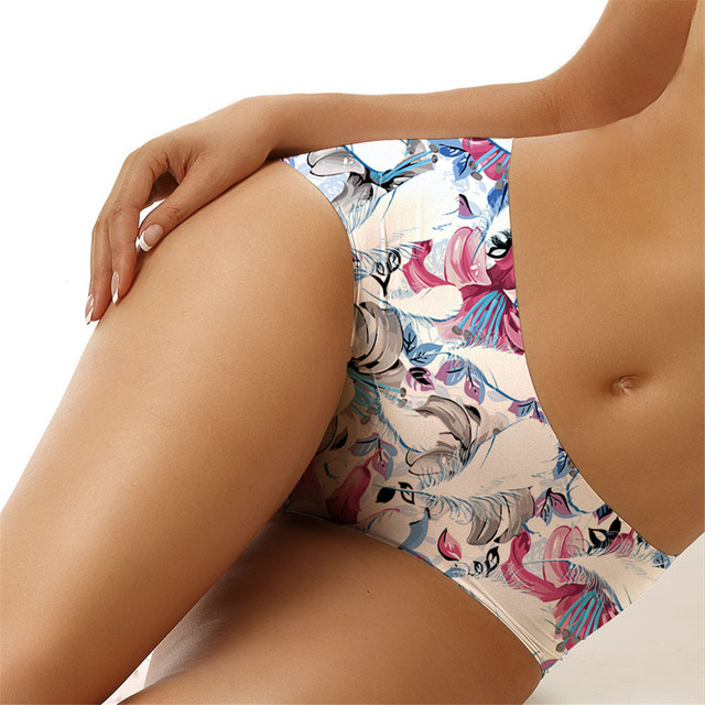 Bragas Algodon Mujer Women Sexy 3D Flower Vine Printing Floral Underpants Briefs Tattoo Printed Bandage G-string Thongs White