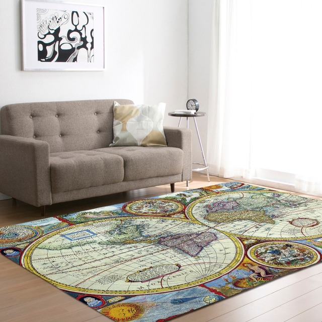 Large World Map Carpets Rug Bedroom Kids Baby Play Crawling Mat