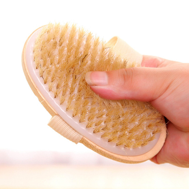 2 In 1 Removable long-handled wooden natural bristle brush bath brush massager Baby bath Shower bathroom accessories 4