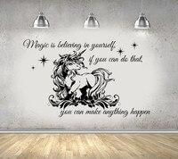 DIY imperméable en vinyle animal cheval mur autocollant Licorne wall art mural avec Anglais caractère mot citation art photo décoration