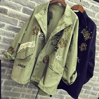 2019 Women Cotton Jacket Coat Fashion Women Bomber jacket Embroidery Applique Rivets Oversize Women Coat Army Green Cotton Coat