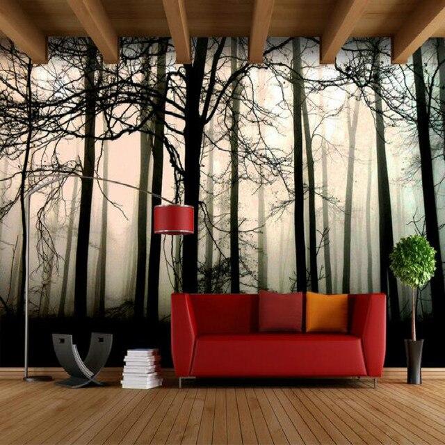 3d Tapeten Für Wand 3d Retro Nostalgischen Schwarz Weiß Wald