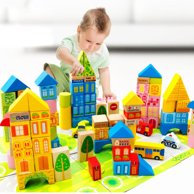 100pcs/set Safety Wooden Montessori Kids Toy Color Cartoon Images City Traffic Scene Wood Building Blocks Child Educational Toys mother garden high quality wood toy wind story green tea wooden kitchen toys set