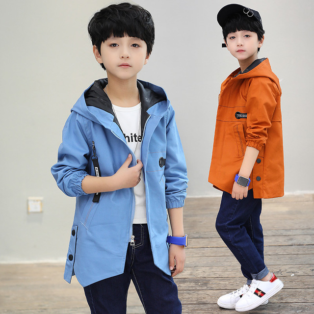fae9eaa896b5b US $23.65 34% OFF|Boys Jackets Letter Coats For Boys Clothing Children  Outerwear Spring Autumn Long Trench 2018 Teenage Boys Tops C14-in Jackets &  ...