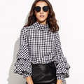 WOWMITY Apparel Plaid Casual Frill Women Shirt Black Gingham Cutout High Neck Billow Sleeve Top Autumn Slim Elegant Chic Blouse