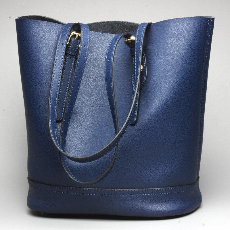 fashion Genuine leather bucket bag Brand Designer ladies casual Messenger handbag large capacity women tote shopping bag