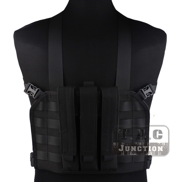 Emerson Tactical High Speed Operator MOLLE Chest Rig Black Adjustable High-Densiy Nylon Vest w/ SMG Magazine Mag Pouch outdoor hunting tactical chest rig adjustable padded modular military vest mag pouch magazine holder bag platform