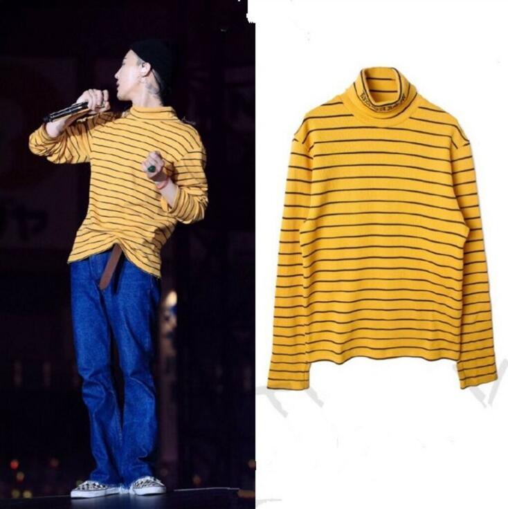 Kpop casa Bigbang GD G-Dragon Lo Stesso autunno giallo a righe pullover Felpa Con Cappuccio Unisex Sweatershirt dolcevita