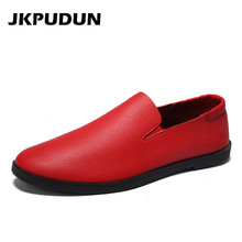 JKPUDUN Summer Mens Shoes Casual Leather Luxury Brand 2018 Italian Fashion  Moccasins For Men Penny Loafers d3c4b4c745ac