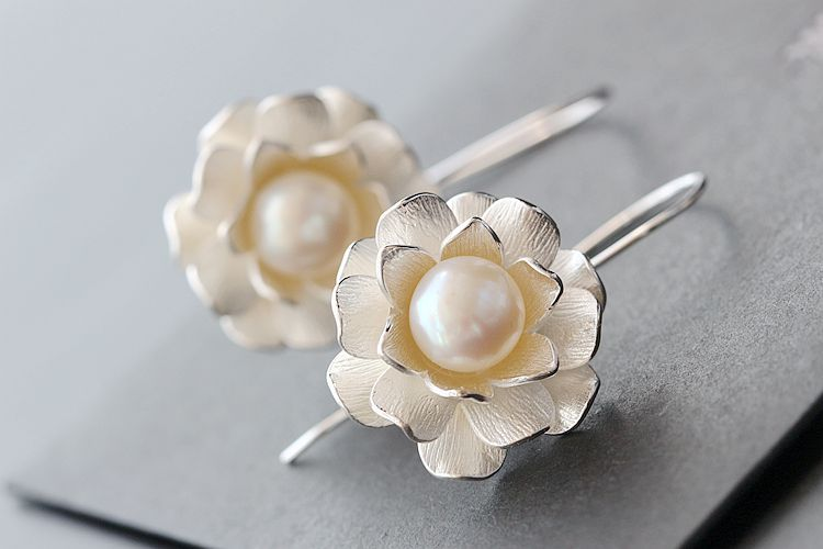925 pure silver hand inlaid baroque pearl earrings wholesale female