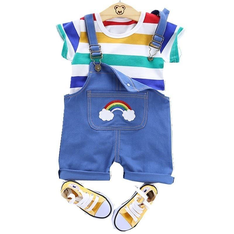 Summer Baby Boy Girls Leisure Clothing Set Infant Clothes Fashion Kid Stripe T-Shirt Overalls 2Pcs/Set Children Cotton Tracksuit