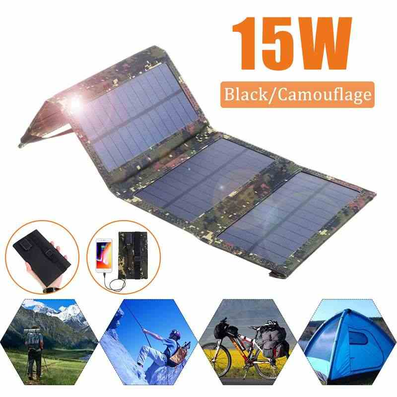 15W Portable Solar Panel 5V Monocrystalline Folding Foldable Waterproof Charger  Sun Power Bank for Phone Battery USB Port