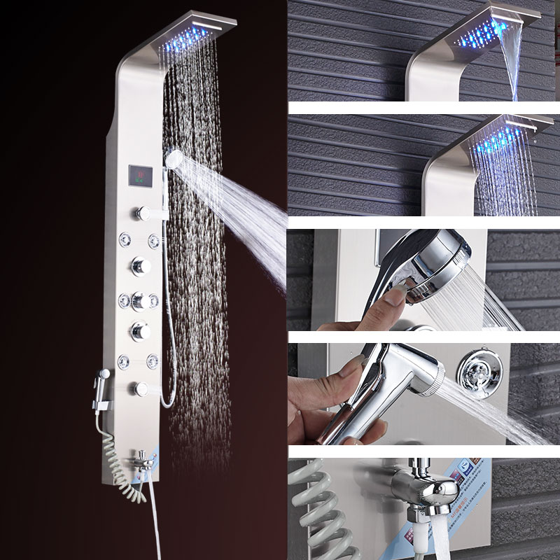 Suguword Bathroom Shower Panel Set Mixer Valve Faucet Led Rainfall Shower Manssage Spa With Temperature Display Shower System In Short Supply Shower Equipment Shower Faucets