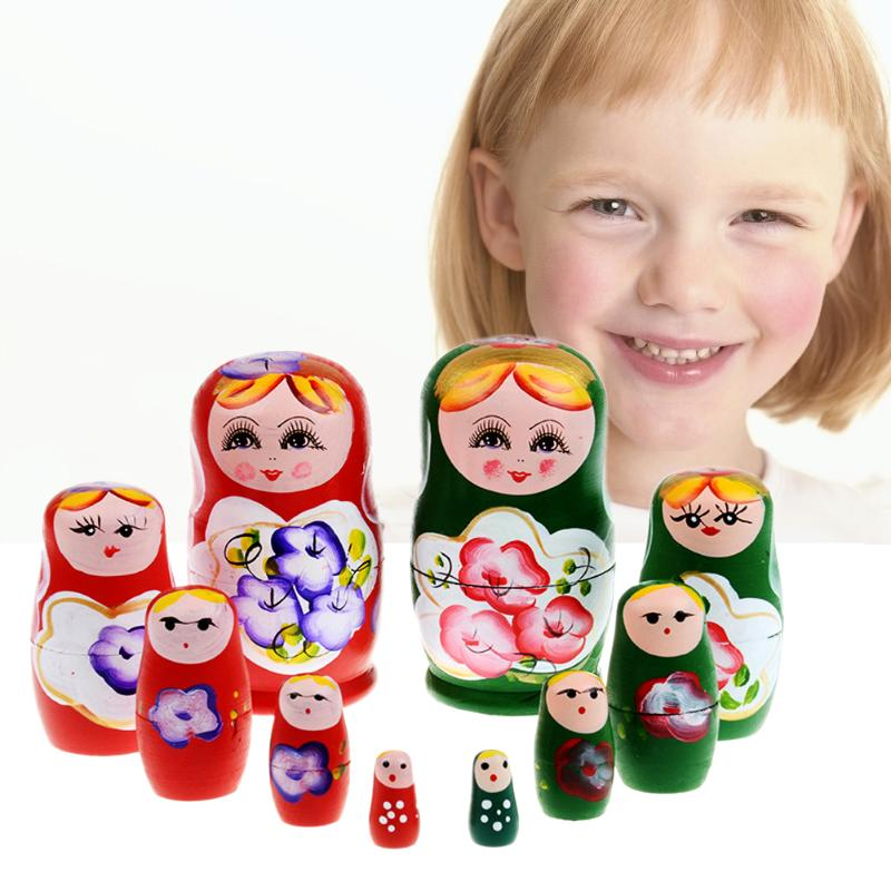 Set Of 5 Pcs Dolls Wooden Russian Nesting Babushka Matryoshka Hand Painted Gift
