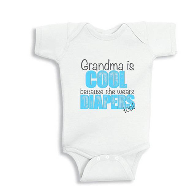 101d96911f742 US $10.0 |Culbutomind 2018 Grandma is cool because she wears diapers too  White Short Sleeve Cute Infant Unisex One piece Summer Clothing-in  Bodysuits ...
