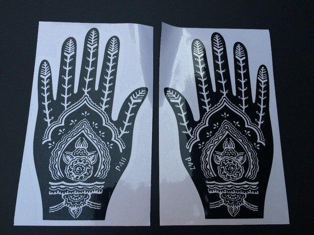 Reusable Henna Stensil Tato Airbrush Sementara Lukisan Jari Tangan