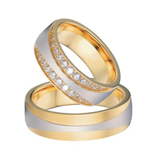 ФОТО anel ouro vintage 18k gold plating cz diamonds engagement wedding lord of the rings pair sets for women and men king and queen