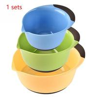 3 Pcs/set Food Grade Quick Plastic Round Fruit Snack Candy Salad Plate Bowl Dish Basket Food Container #1023