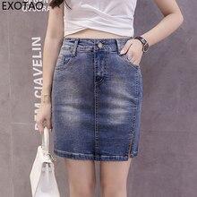 6c527a1e7f EXOTAO Split frontal Faldas de verano cremallera Mediados de cintura Denim  Slim Jupe Femme de moda