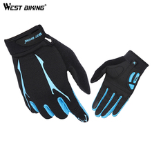 WEST BIKING Full Finger Cycling Gloves GEL Reflective Touch Screen MTB Bike Bicycle Breathable Anti-shock Outdoor