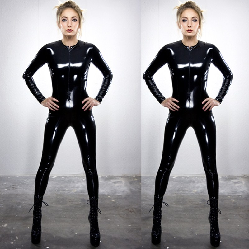 Free Shipping Plus Size Black Faux Leather Jumpsuit Long Sleeve Women PU Wetlook PVC Catsuit Leather Bodysuits Tight Leotards