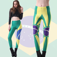 2017 Hot Sexy Brazil world cup hot products of high elastic thin Flag of Brazil sexy female Leggings Pants nine Capris gaiters