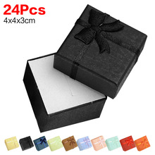 24 PCS/PACK 4*4*3cm jewelry ring earring bracelet small gift box black square carton bow case