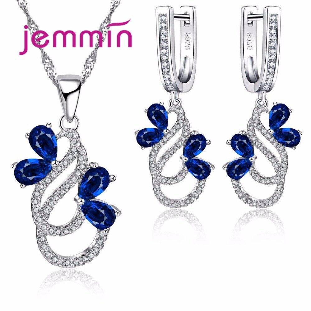 Jemmin Luxus 925 Sterling Silber Halskette Ohrringe Set Für Frauen Weibliche Partei Bule Österreichischen Kristall Schmuck Hohe Qualität